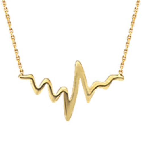 14K Yellow Gold Adjustable HeartBeat Necklace with Cable Chain (more colors)
