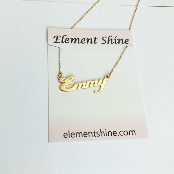 "Personalized Dainty Name Plate Gold Necklace in ""Carrie"" Script (Silver & Gold)"
