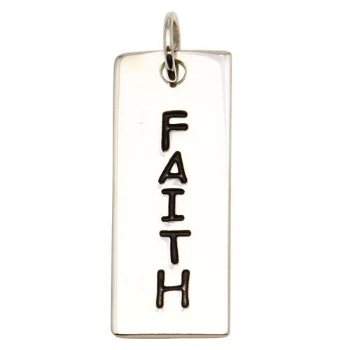 925 Sterling Silver Engravable Bar Faith Charm/Pendant