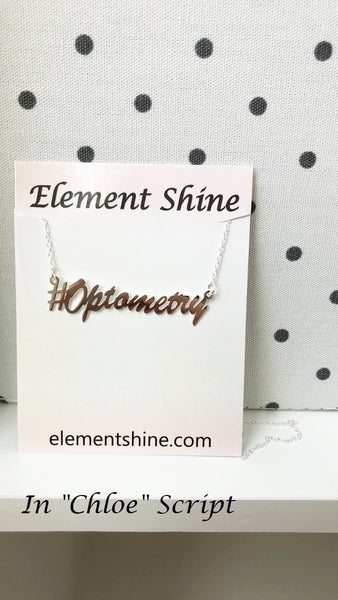 "Personalized Sterling Silver Name Hashtag Necklace in ""Chloe"" Script (more colors)"