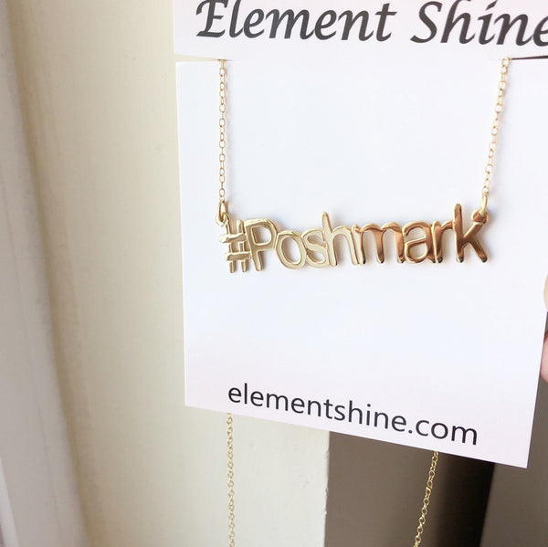 925 Sterling Silver Gold Plated Hashtag Poshmark Necklace