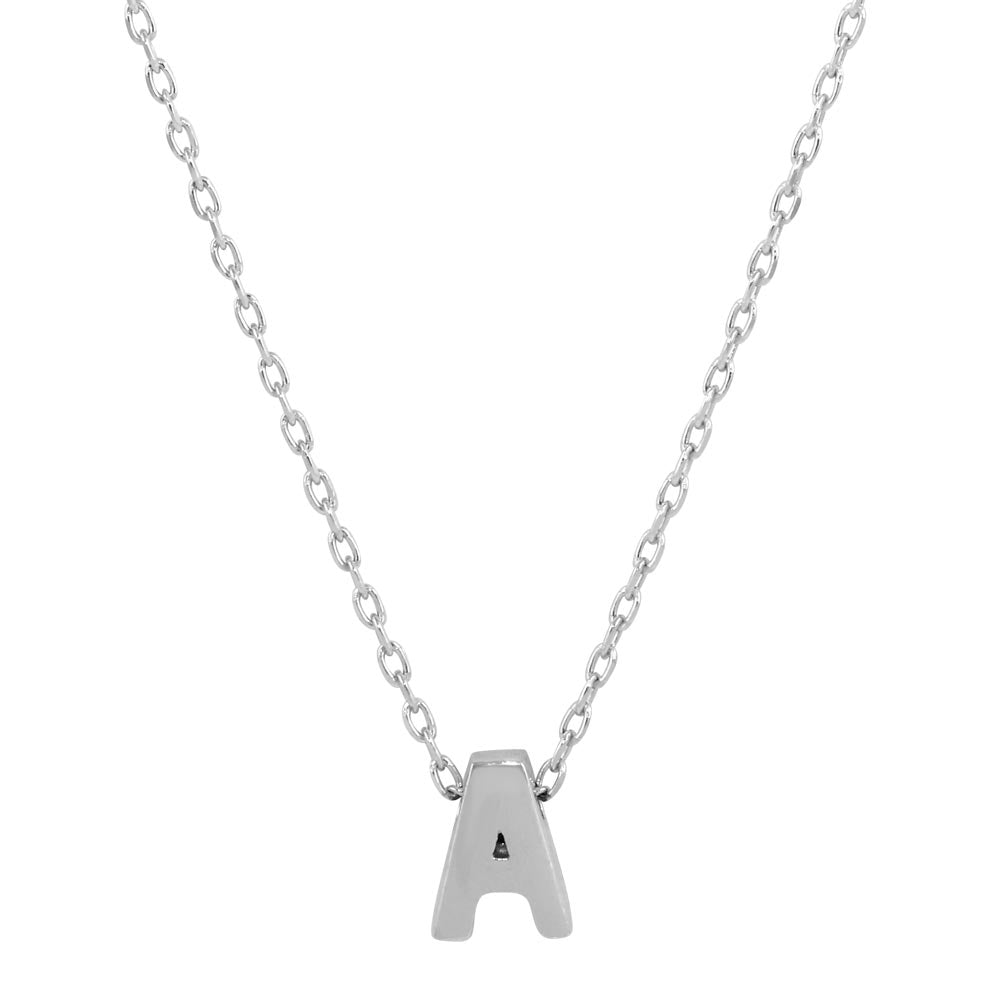 Sterling Silver Small Initial Letter A Necklace
