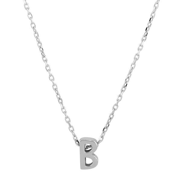 Sterling Silver Small Initial Letter B Necklace