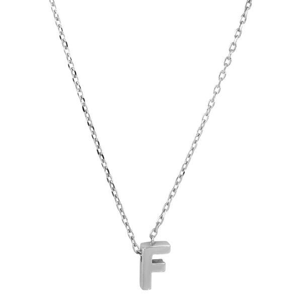 Sterling Silver Small Initial Letter F Necklace