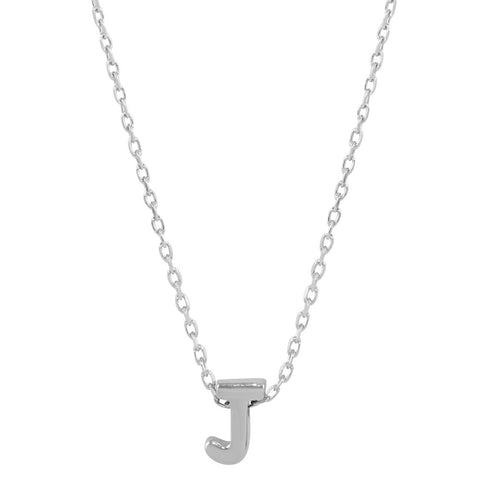 Sterling Silver Small Initial Letter J Necklace