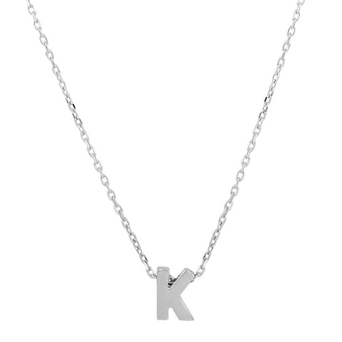 Sterling Silver Small Initial Letter K Necklace