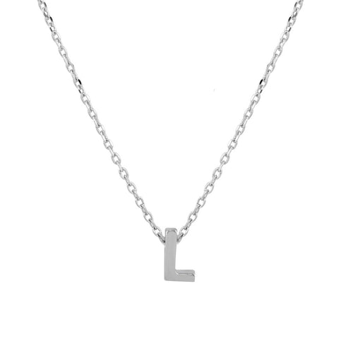 Sterling Silver Small Initial Letter L Necklace