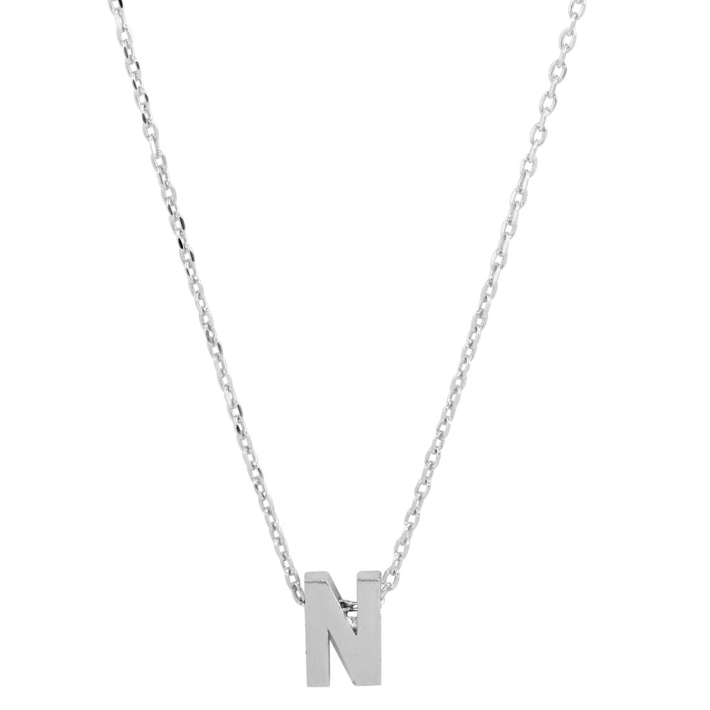 Sterling Silver Small Initial Letter N Necklace