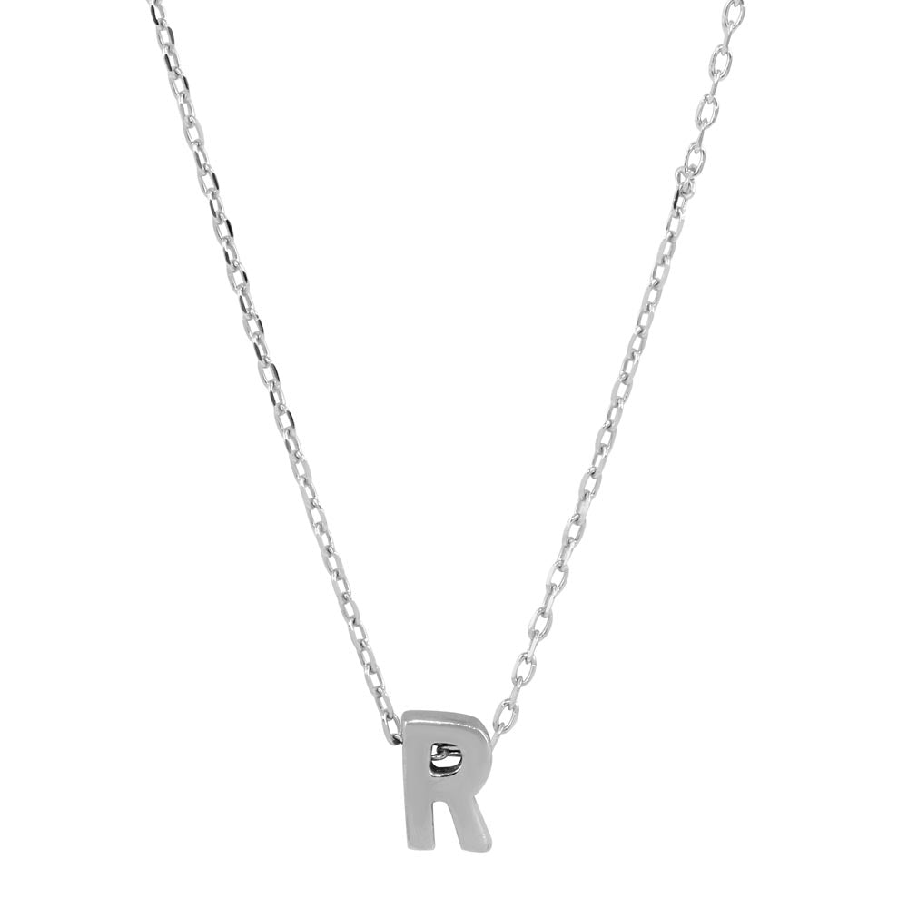 Sterling Silver Small Initial Letter R Necklace