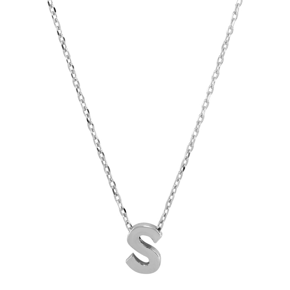 Sterling Silver Small Initial Letter S Necklace