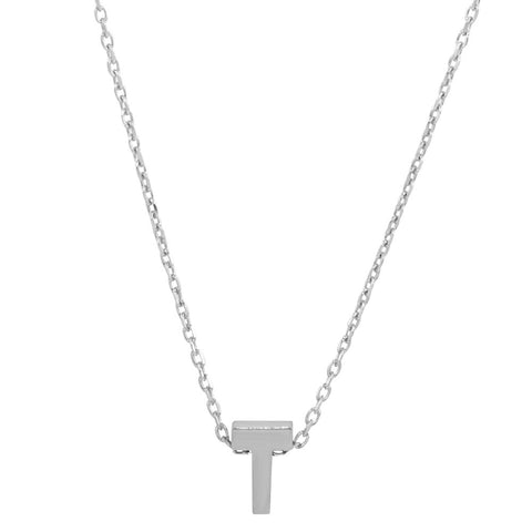 Sterling Silver Small Initial Letter T Necklace