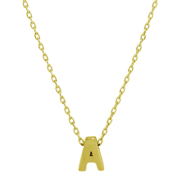 Sterling Silver Gold Plated Small Initial Letter A Necklace