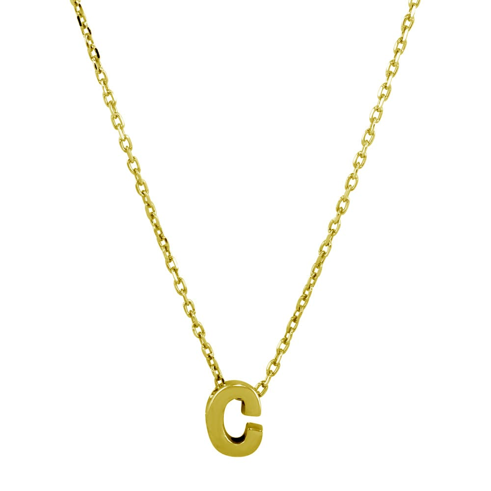Sterling Silver Gold Plated Small Initial Letter C Necklace