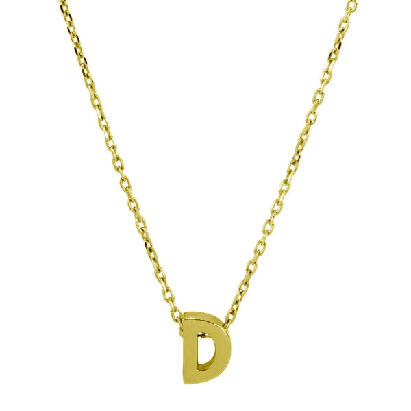 Sterling Silver Gold Plated Small Initial Letter D Necklace