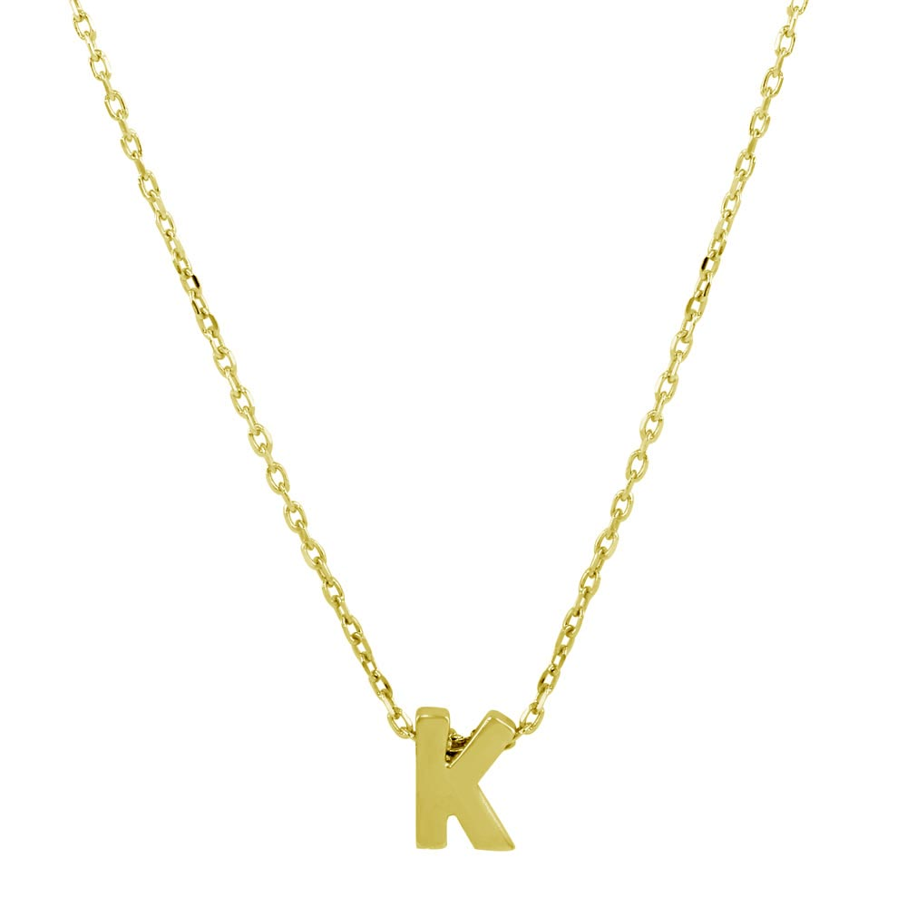 Sterling Silver Gold Plated Small Initial Letter K Necklace