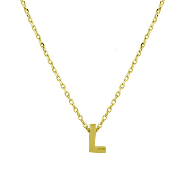 Sterling Silver Gold Plated Small Initial Letter L Necklace