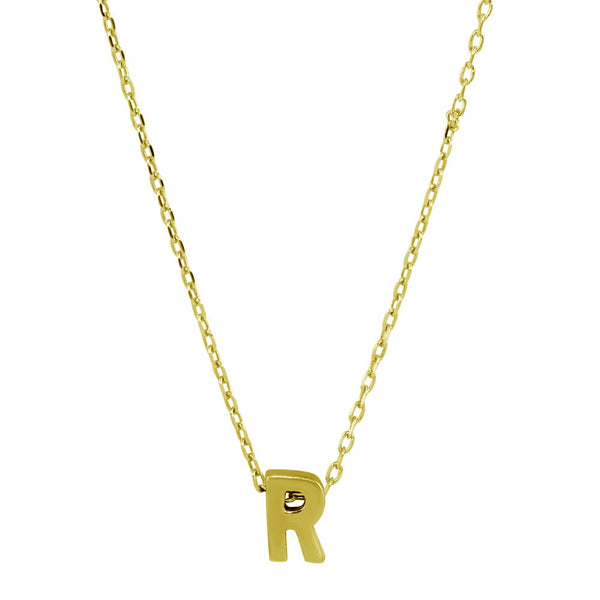 Sterling Silver Gold Plated Small Initial Letter R Necklace