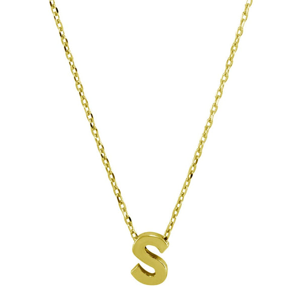 Sterling Silver Gold Plated Small Initial Letter S Necklace