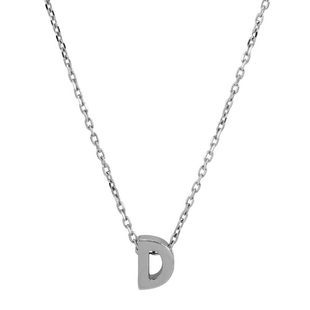 Sterling Silver Small Initial Letter D Necklace