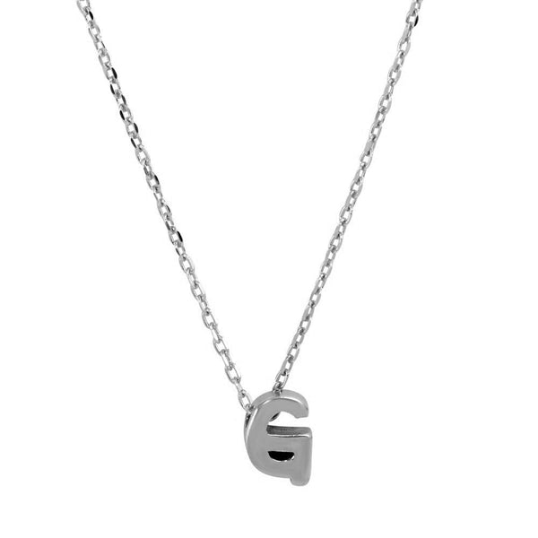 Sterling Silver Small Initial Letter G Necklace