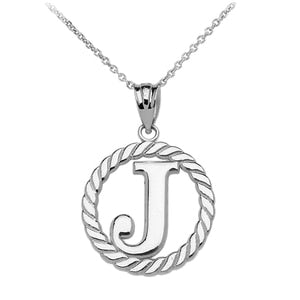 "Sterling Silver ""J"" Initial in Rope Circle Pendant Necklace"