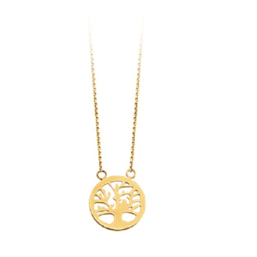 14K Yellow Gold Tree Life Necklace with adjustable Cable Chain