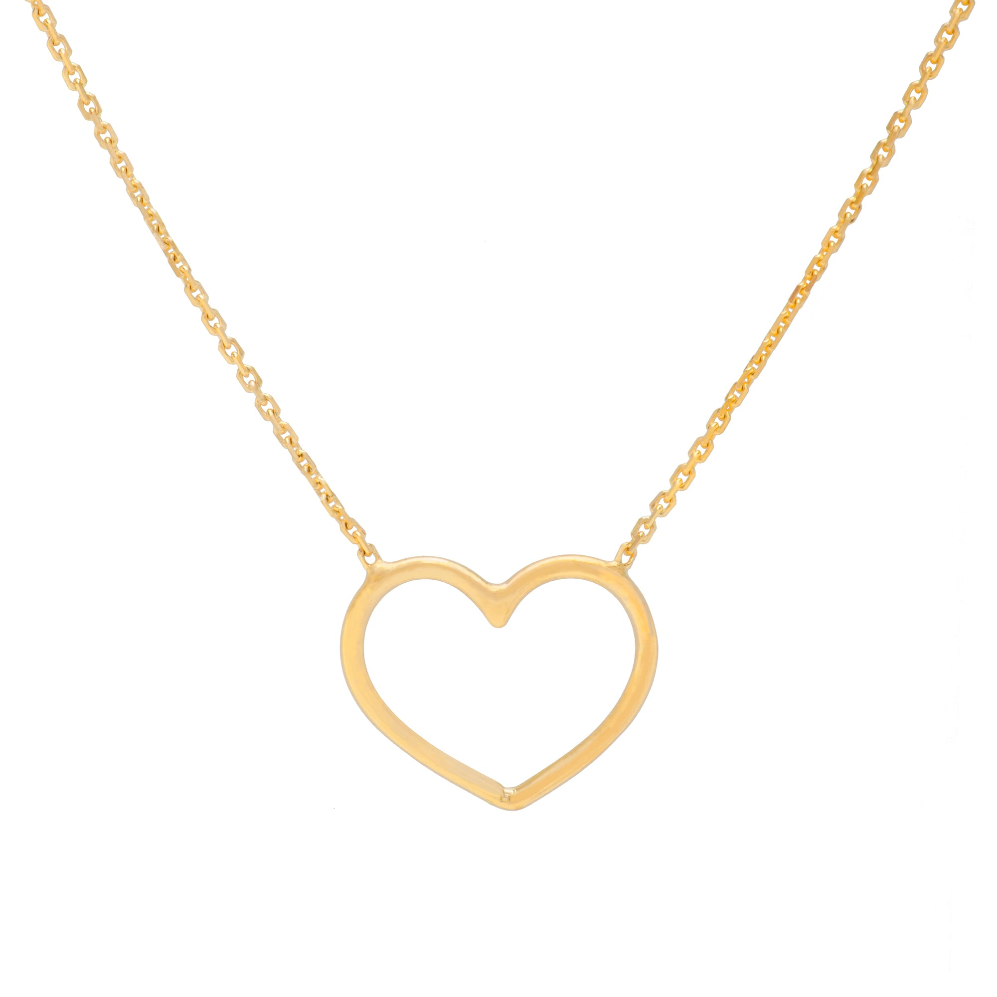 14K Yellow Gold Open Heart Adjustable Necklace (more colors)
