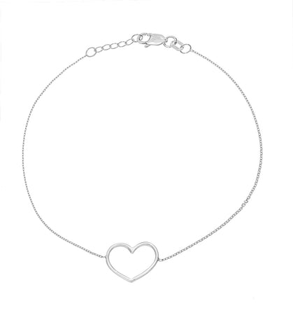 14K White Gold Open Heart Bracelet (more colors)