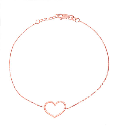 14K Rose Gold Open Heart Bracelet (more colors)