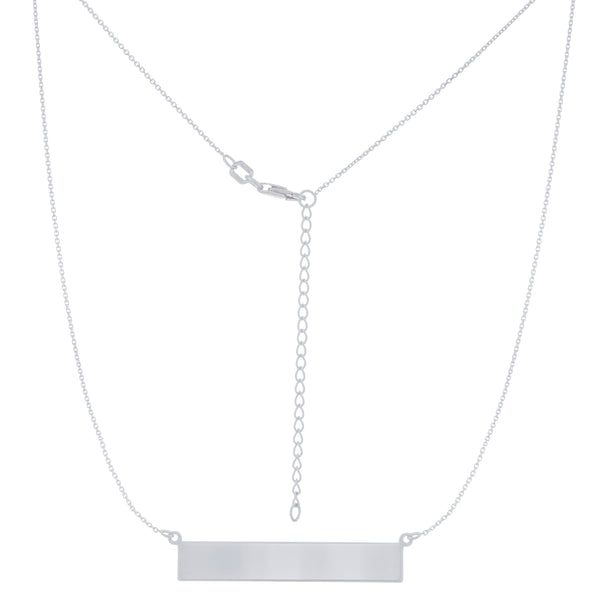 East to West (E2W) Engravable Geometric Bar Name Plate Necklace (Silver & Gold)