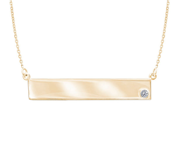 14K Gold East to West (E2W) Engravable Geometric Bar Name Plate Necklace with 2pt Diamond (more colors)