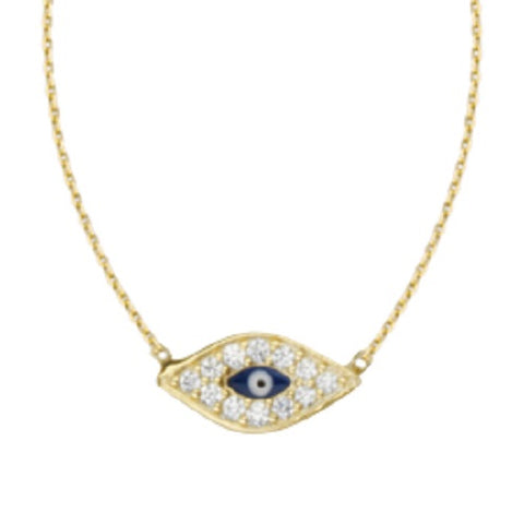 14K Yellow Gold Mini Evil Eye Necklace with Adjustable Cable Chain