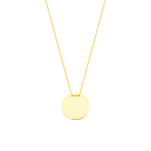 Engravable Round Name Plate Necklace (Silver & Gold)