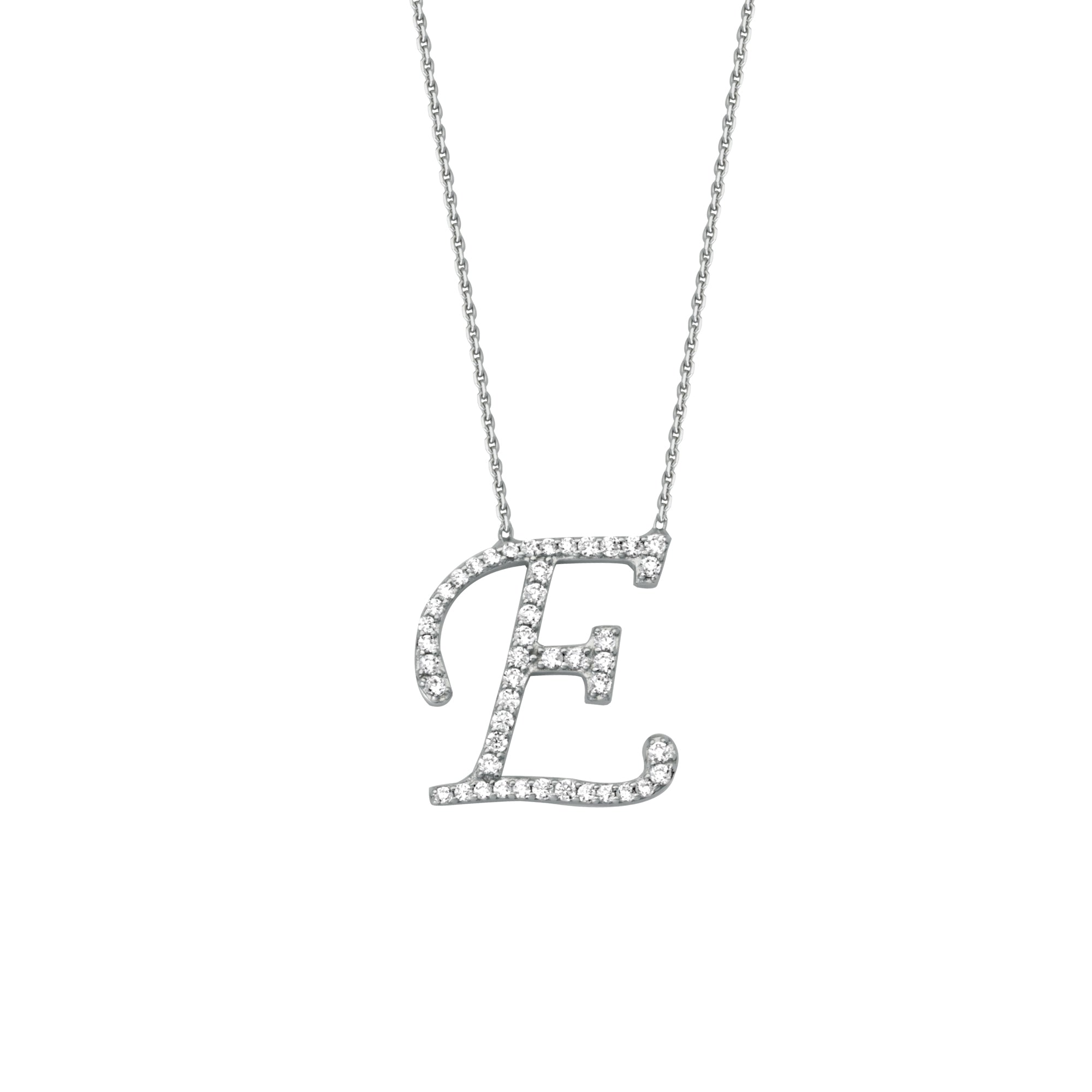 925 Sterling Silver CZ Initial Letter E Necklace