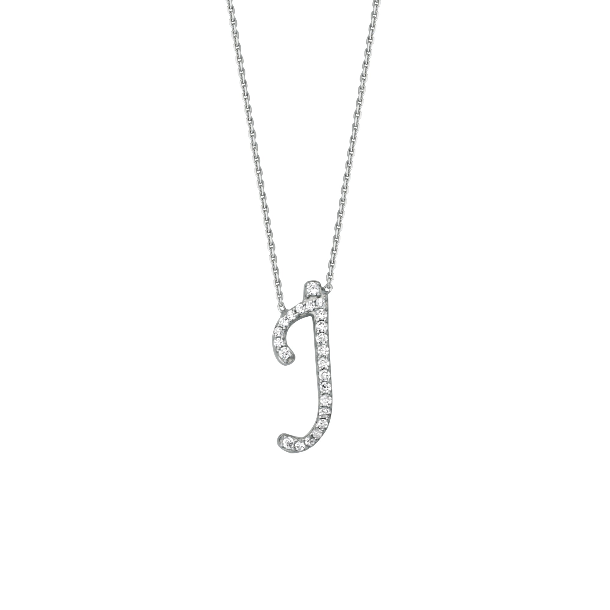 925 Sterling Silver CZ Initial Letter J Necklace