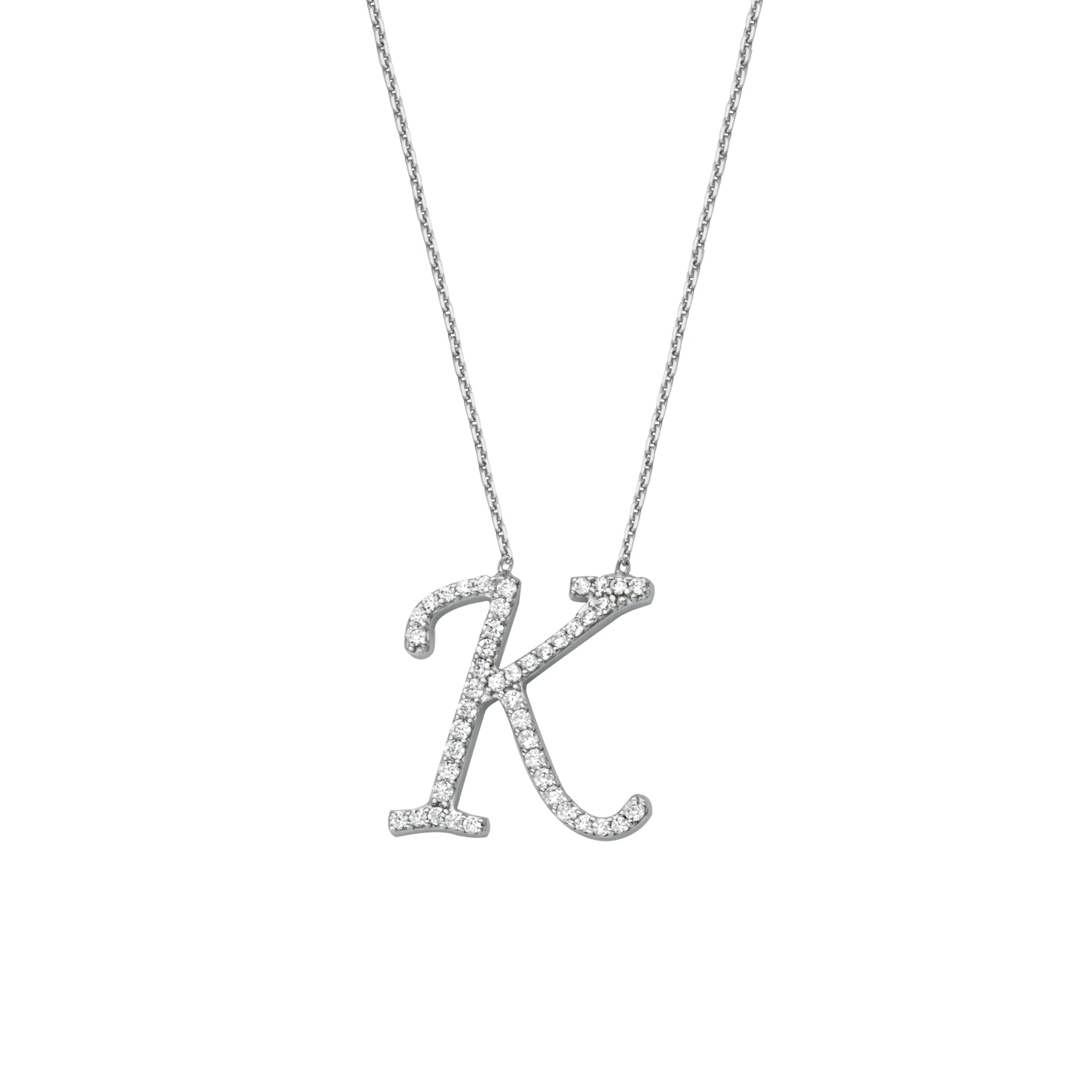 925 Sterling Silver CZ Initial Letter K Necklace