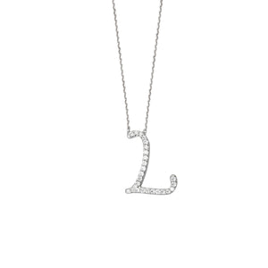 925 Sterling Silver CZ Initial Letter L Necklace