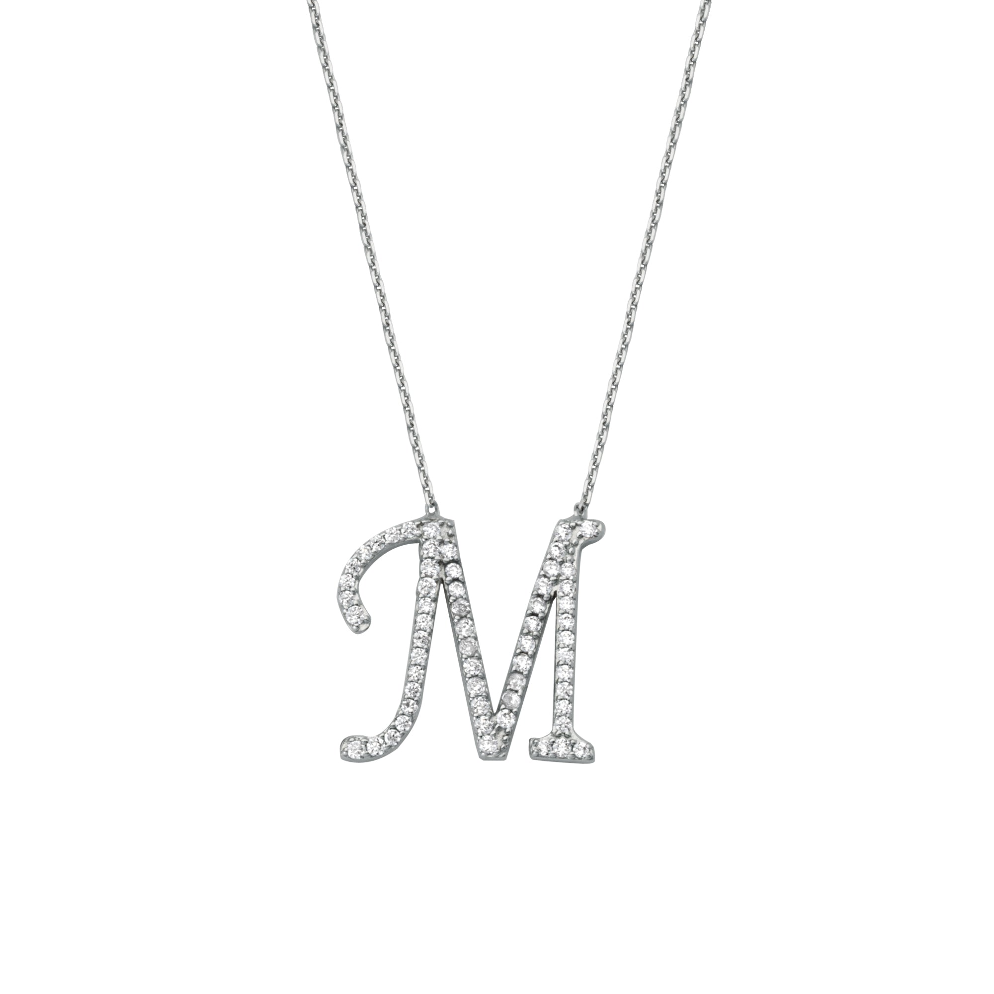 925 Sterling Silver CZ Initial Letter M Necklace