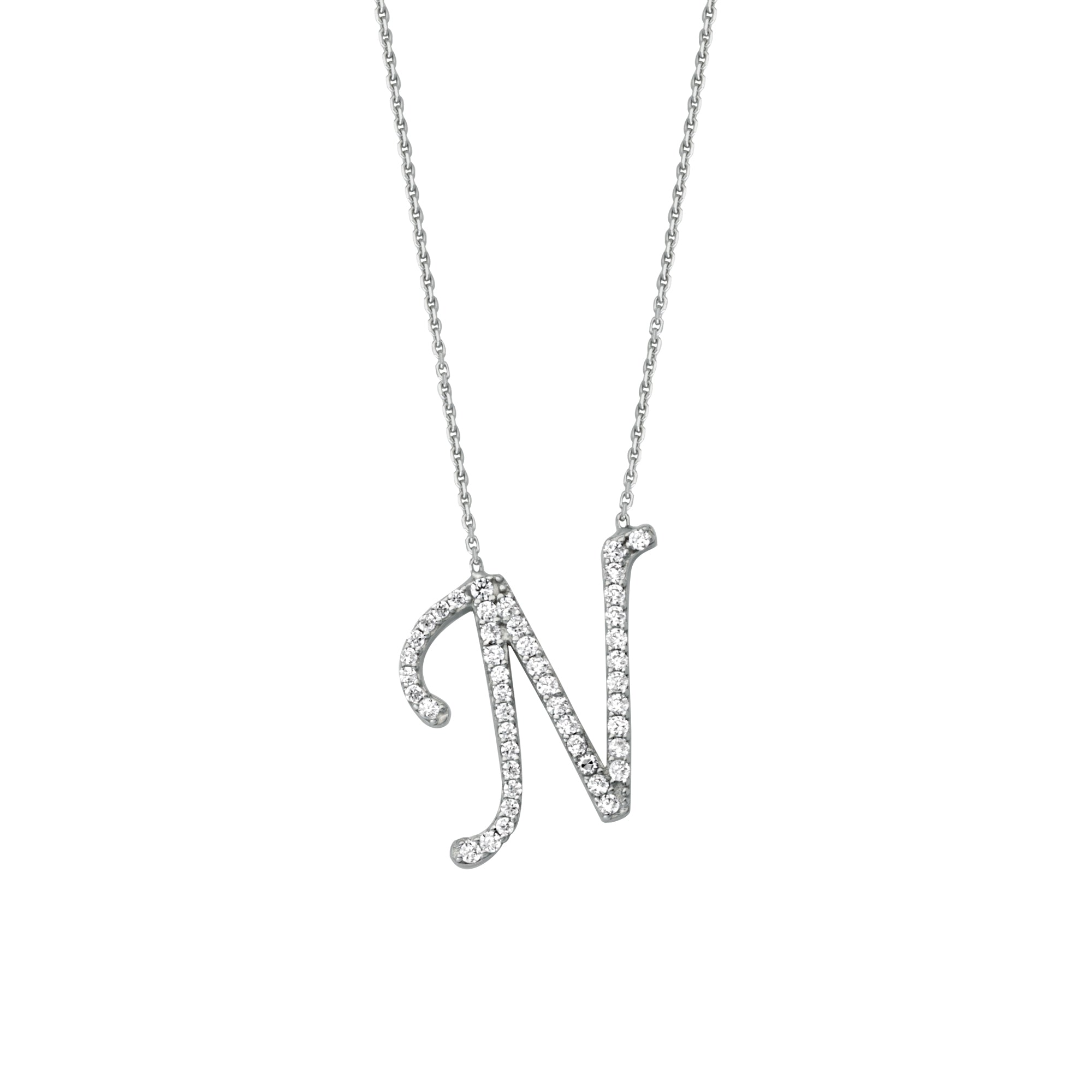 925 Sterling Silver CZ Initial Letter N Necklace