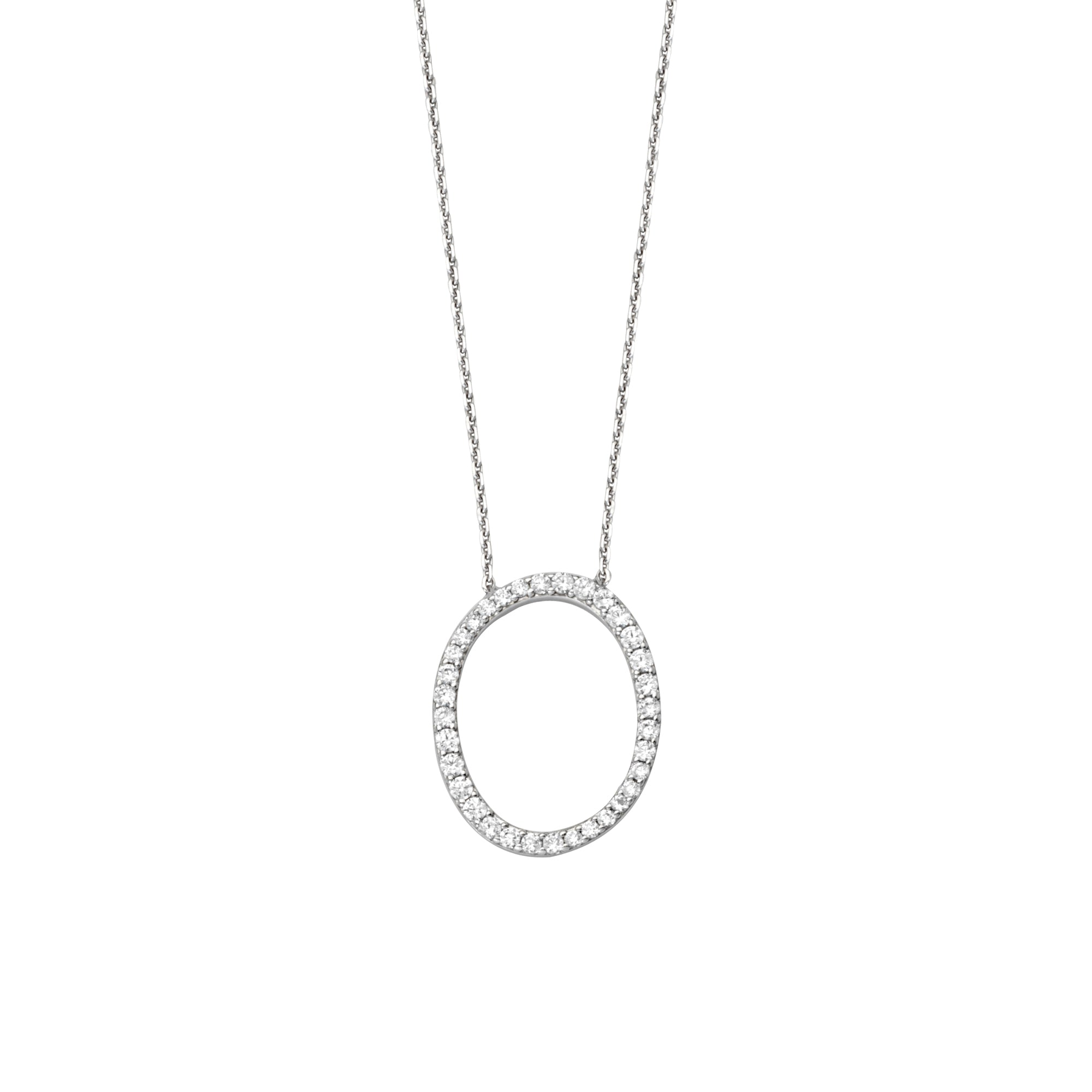925 Sterling Silver CZ Initial Letter O Necklace