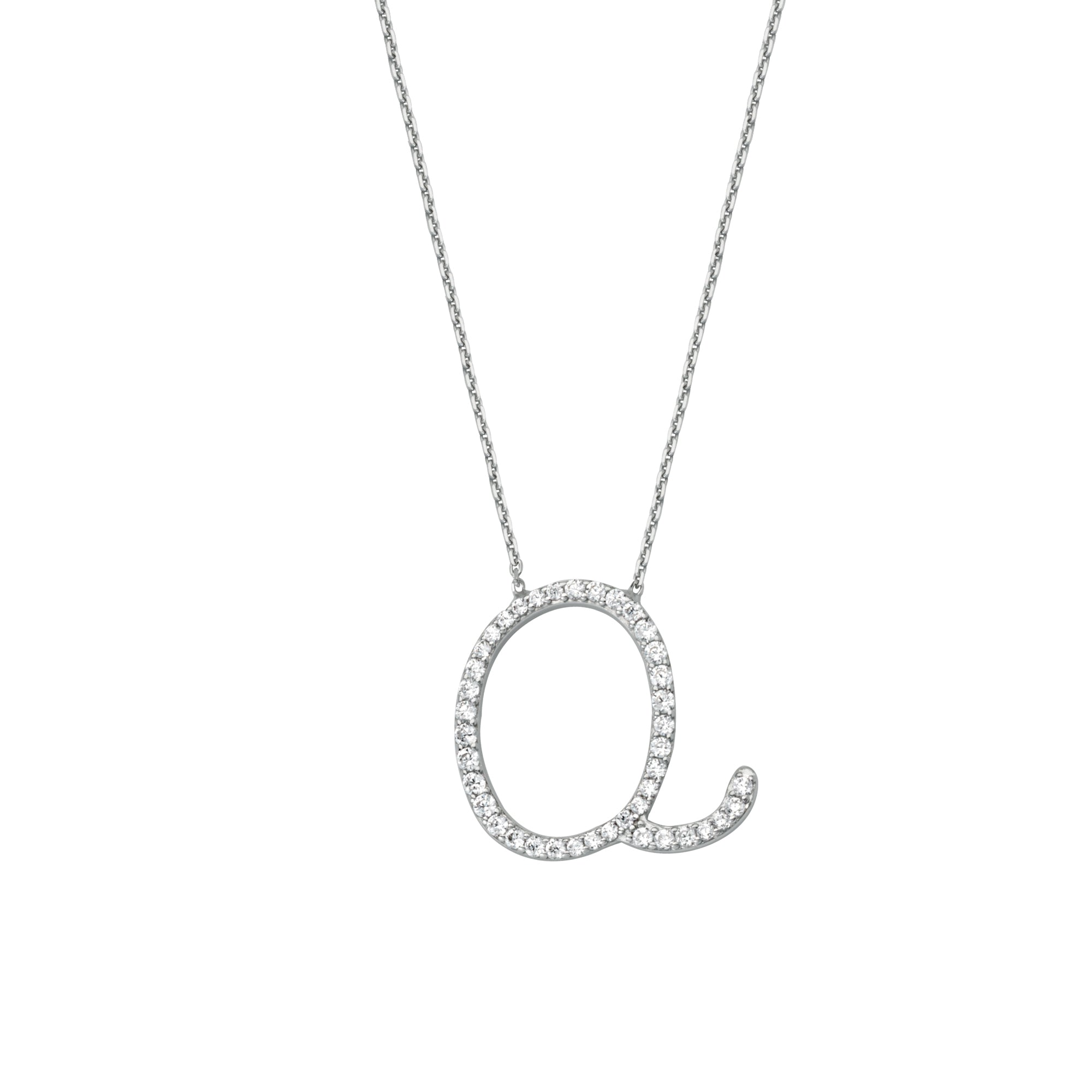 925 Sterling Silver CZ Initial Letter Q Necklace