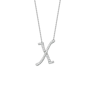 925 Sterling Silver CZ Initial Letter X Necklace