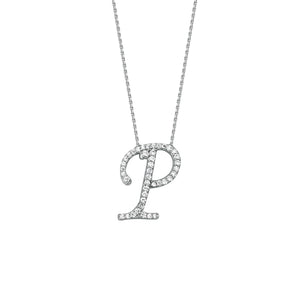 925 Sterling Silver CZ Initial Letter P Necklace