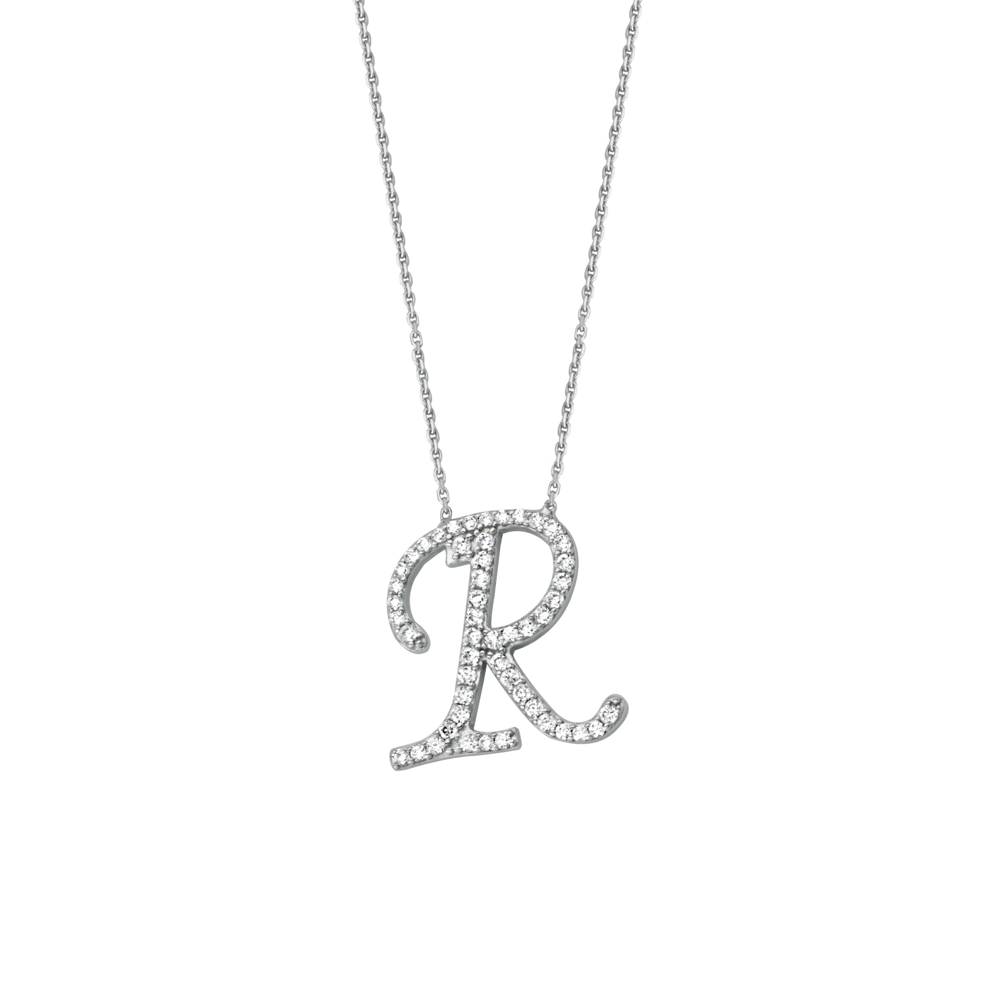 925 Sterling Silver CZ Initial Letter R Necklace