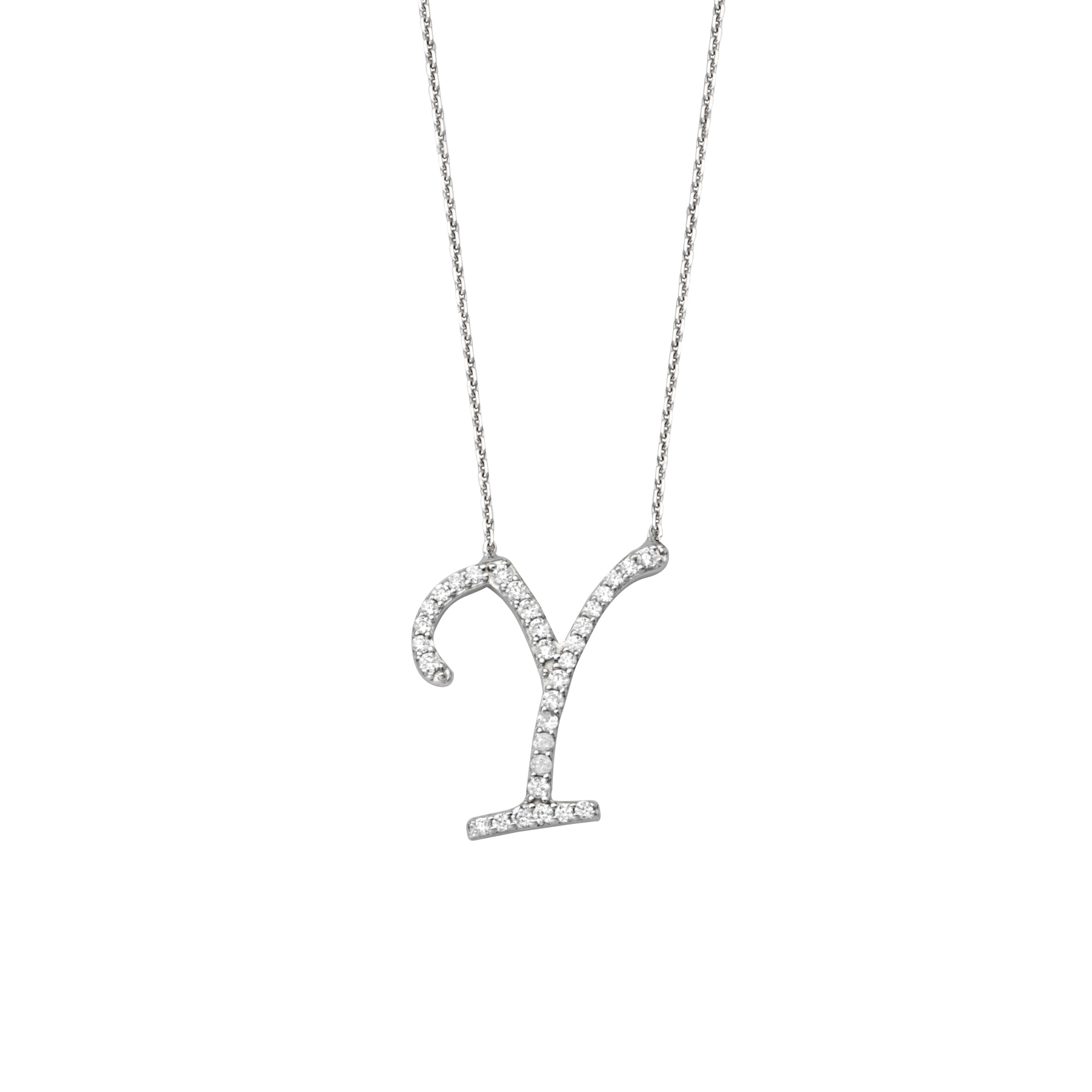 925 Sterling Silver CZ Initial Letter Y Necklace