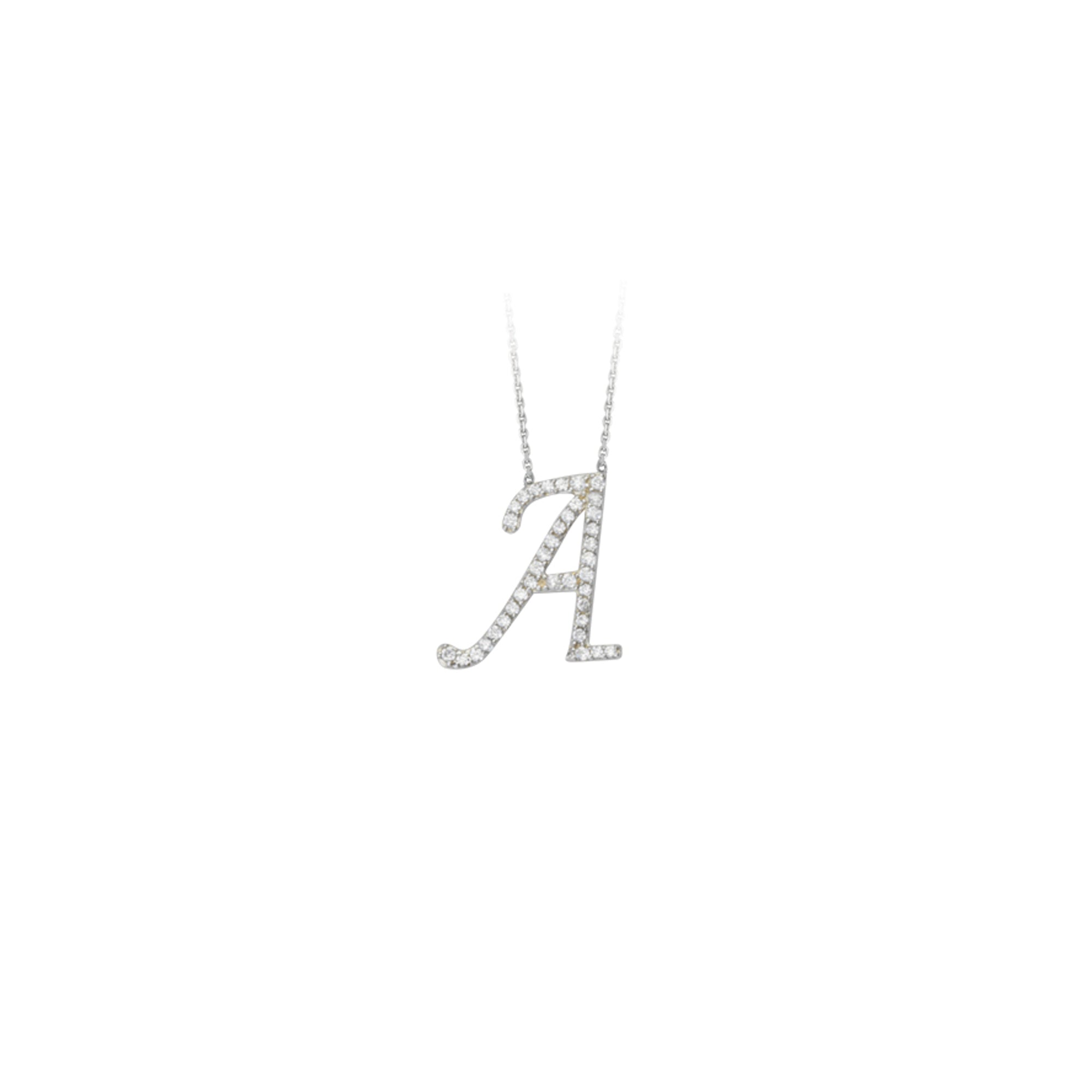 925 Sterling Silver CZ Initial Letter A Necklace