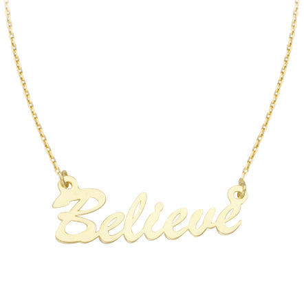 14K Gold E2W BELIEVE Adjustable Necklace with Cable Chain