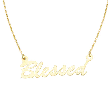14K Gold E2W Blessed Adjustable Necklace with Cable Chain