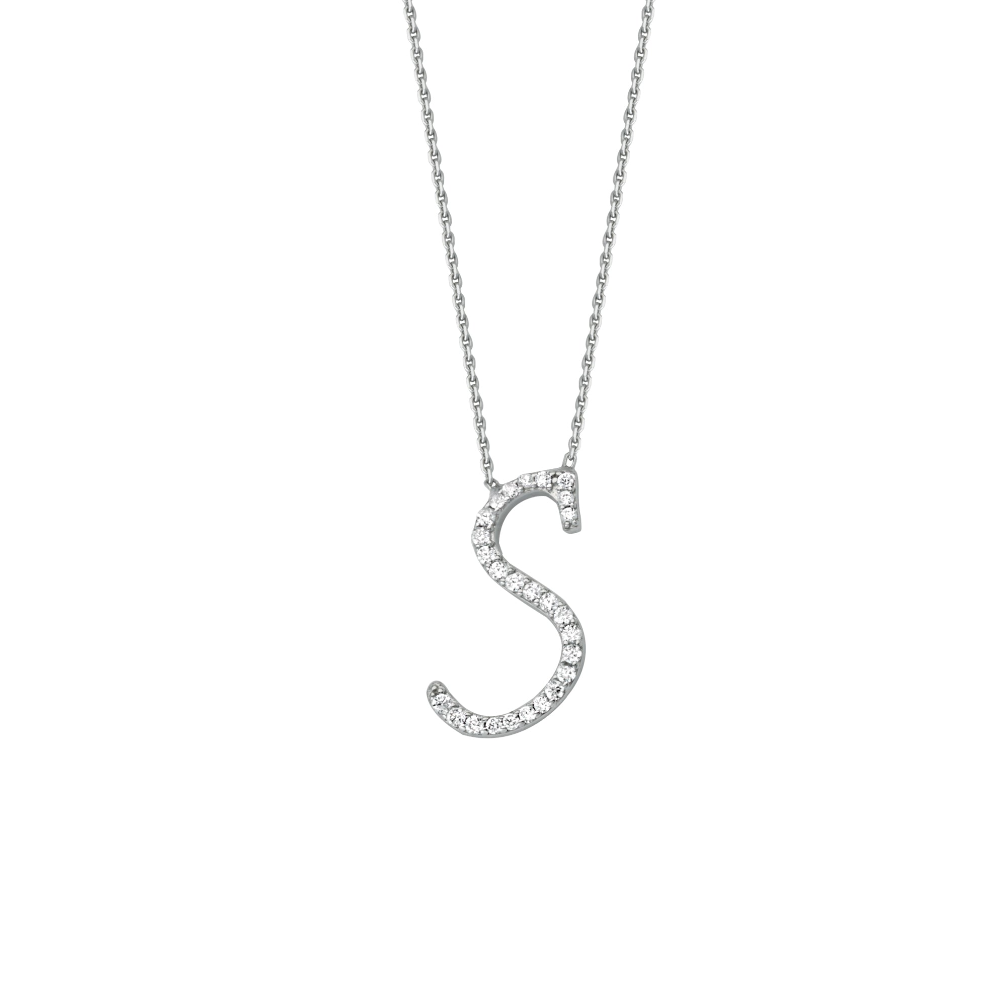925 Sterling Silver CZ Initial Letter S Necklace