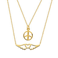 14K Gold Duo E2W Peaceful Journey Adjustable Necklace